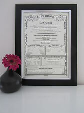 40th 50th Personalised Birthday Gift Present Scroll