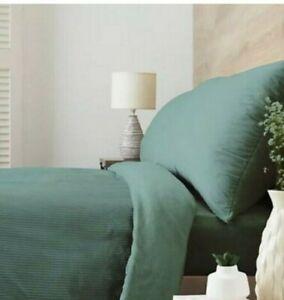 Cozee Home Dusky Teal Narrow Stripe Velvet & Fleece 4pc Duvet Set KING SIZE