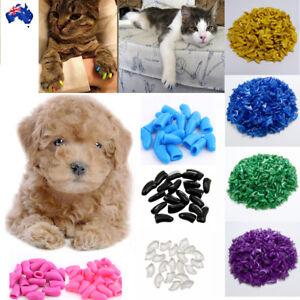 20pcs & 1 Glue Soft Cat Dog Nail Caps Pet Claw Covers Protective Multi-colour AU