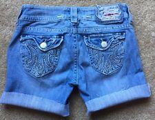 MEK DENIM Women's Light Wash Distressed Jean Cutoff Denim Shorts Size 26