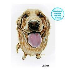 Golden Retriever Art Dog Print Pet Portrait Picture 1