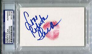 ROBERTA FLACK Signed LIP PRINT Card w/ Photo Killing Me Softly with His Song PSA