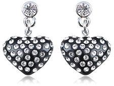 Petite Diamante Elements Encrusted Black Heart Fashion Drop Earrings Dangle Gift