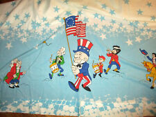 vtg 1970s UNCLE SAM MR MAGOO FLAT SHEET Patriotic July 4th USA America Bed TWIN