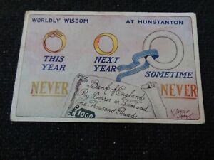 Worldly Wisdom at Hunstanton Artist Signed Stocker Shaw Comic Postcard Norfolk -