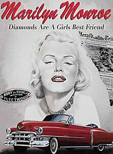 Marilyn Monroe Diamonds large steel sign 400mm x 300mm (og) REDUCED