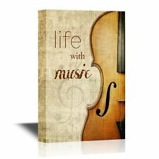 wall26 - Canvas Wall Art - Cello with the Words Life with Music - 12x18 inches