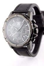 Orologio Uomo Cronografo t5 Deep Darkness 46mm data Bracciale in Pelle con Custodia per orologi