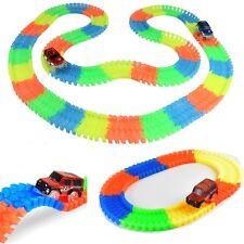 Magic Track Twister Car Racing Tracks & 56pc Block Set Luminous Glow in the Dark