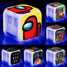 Among Us Game Cube Led Alarm Clock Digital 7 Color Change Night Lamp Decor Gift