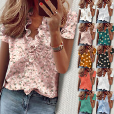 Women Ladies Ruffles Shirt Holiday Buttons Floral Blouse Basic Loose V neck Tops