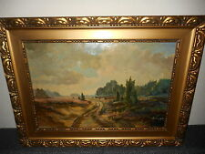 Very old oil painting,{ Heath landscape, is signed, nice frame  } is antique!