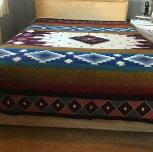 Soft South American REVERSIBLE  Handmade Wool Blanket Sofa Bed Throw PerfectGift