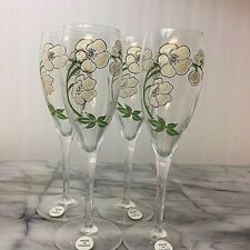 Perrier Jouet Champagne Flutes Handpainted Flowers Set of 4 France