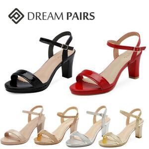 DREAM PAIRS Women's Open Toe Chunky High Heels Dress Pump Heel Sandals