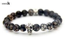 Drachen Achat Edelstein Skull Silber Totenkopf Armband Bracelet Biker Kette top