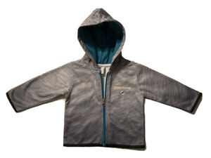 New NFL Miami Dolphins Boys Toddlers Gray Lightweight Hoodie Jacket Size 12M