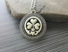 Handmade Claddagh Shamrock Cameo Necklace - Black