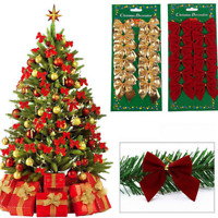 12X Bowknot Christmas Gift Ornaments Xmas Tree Hanging Home Party Decor Pretty