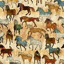 Unbridled cotton quilt fabric BTY Quilting Treasures Horses on Cream / Tan