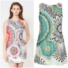 Plus Size Scoop Neck Paisley Dresses for Women