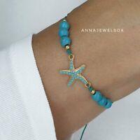 Turquoise Sea Star Beach Friendship Bracelet Women Boho Summer Ocean Jewellery