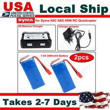 2x 7.4V 2000mAh 25C Battery + US Plug Charger Kit For Syma X8HC X8HW X8HG