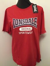 Mens Shirt Retro Lonsdale Original T-Shirt Red Size XL New in packs 113124