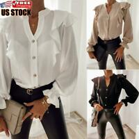 Women's Long Sleeve Ruffle Frill Shirt Ladies Casual Buttons V Neck Blouse Tops