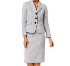 Le Suit Womens Suits White Size 16 Two-Button Notch-Lapel Skirt Set $200 220