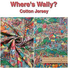 Where's Wally? Patterned Children Cotton 4 Way Stretch Knit JERSEY Dress Fabric
