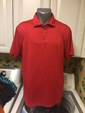 Pga Tour Men's Polo Golf Shirt L Red Polyester Athletic Cut
