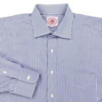 J Press Blue Vertical Striped Button Front Dress Shirt Men's Size 17 34 White