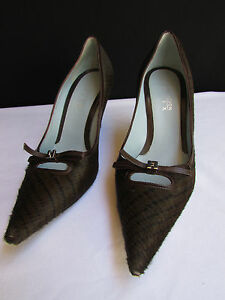 Lambertson Truex Women Brown Pony Hair Bow Pointed Pump High Heel Shoes Size 7.5