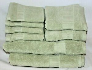 Raymond Waites Living 8 Piece Light Green Luxury Turkish Bathroom Towel Set New