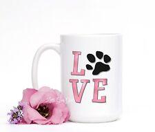 LOVE Paw Print Coffee Mug Cat Dog Pet Lover Fur Baby 15 oz Coffee Cup in Pink