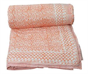 Ethnic Indian Cotton Handmade Winter Reversible Blanket Quilt Razai Floral Print