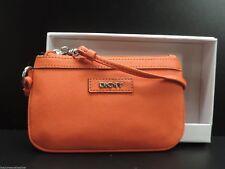 DKNY Orange Leather Wristlet Clutch Handbag Donna Karan New York New in Box!