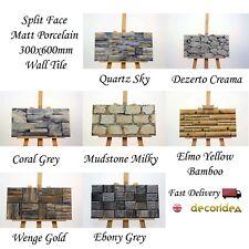 Split Face Matt Porcelain 300x600mm Cladding Wall Tiles - 0.9sqm/box - 10.5mm