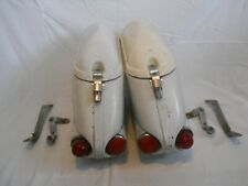 Vintage BUCO Saddlebags Hard Bags, White.  For Honda? Harley? other?  (RG)
