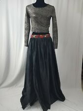 "African Ankara Band Black Front Slit Satin Long Maxi Ball Skirt Waist 41"" SIZE18"