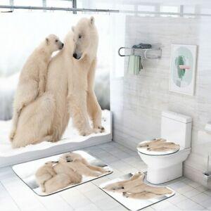 Polar Bear Shower Curtain Set Non-Slip Toilet Lid Cover Bathroom Bath Mat Rug