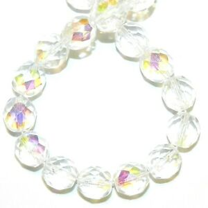 """CZ534 Crystal AB 10mm Fire-Polished Faceted Round Czech Glass Beads 16"""""""