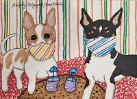 Rat Terrier in Quarantine Masks 8 x 10 Dog Pop Art Print Signed by Artist KSams