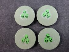 40K Chaos Space Marines Painted Objective Markers / Bases (4) - Nurgle