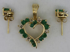 14ct Gold Enhancer/Pendant set with Diamonds & Emeralds with Stud Earring