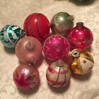 Lot Of 9 Vintage Mercury Glass Christmas Ornaments Balls Mica Pink Red W Germany