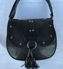 Faux Leather Ladies Girls Cross Body Shoulder Bag Black