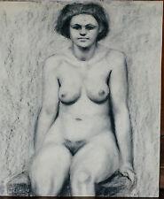 Grand dessin vers 1950 Crayon Nu féminin
