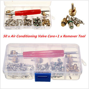 50Pcs Car R12/ R134A Automotive Air Conditioning A/C Core Valves &1x Remover Kit